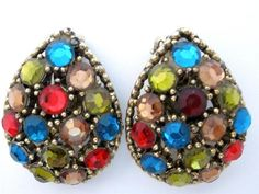 Signed Weiss Multi Color Red Blue Green Rhinestone Gold Tone Earrings Vintage | eBay