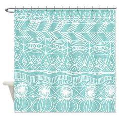 "Aqua tribal Shower Curtain - ""Beach Blanket Bingo"" -  Aqua Pattern, Tribal, Surf, beach, Hand drawn, coastal cottage decor"