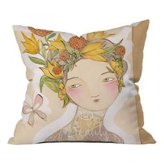 """Made in the USA, this charming pillow showcases a lovely portrait highlighted by a crown of blossoms.    Product: PillowConstruction Material: Woven polyesterColor: MultiFeatures: Designed by Cori Dantini for DENY Designs Dye sublimation printedConcealed zipper closureInsert includedMade in the USA Dimensions: 16"""" x 16"""" Cleaning and Care: Spot treat with mild detergent"""