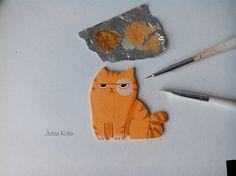 Как я делала кота по мотивам стикеров Вк полимерная глина, кот, Своими руками, ВКонтакте, стикеры, длиннопост