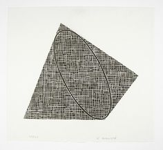 robert mangold, woodcut, black shapes and oval on white paper