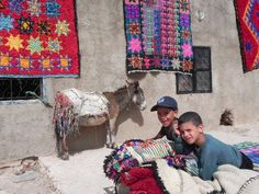 visiting a berber family, boucherouite rugs are drying