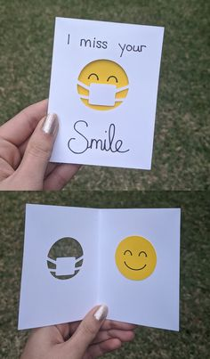"Send a smile to your loved ones with this cute cut-out greeting card. This adorable card is inches and features a smiling face with the text ""I miss your Smile. Cute Cards, Diy Cards, Your Cards, I Miss Your Smile, Tarjetas Diy, Miss You Cards, Get Well Cards, Creative Cards, Creative Birthday Cards"