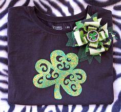 Freezer Paper Print Glitter Shamrock Shirt & Bow by SpoiledRottenCotton.com