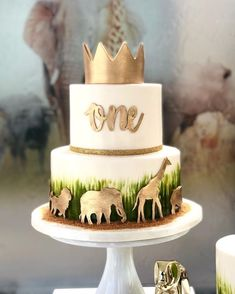 Safari Birthday Cakes, Baby Boy 1st Birthday Party, Safari Cakes, First Birthday Cakes, First Birthday Parties, Jungle Theme Cakes, Safari Party, Birthday Ideas, Safari Baby Shower Cake