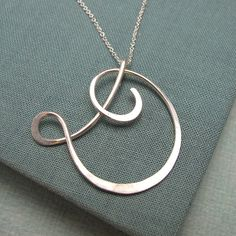 Calligraphy Initial Necklace in sterling by Laladesignstudio, $65.00