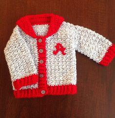 Letterman's jacket, baby letterman's sweater, girl's letterman's sweater, gray sweater by OnceUponARoll, $50.00 USD, #zibbet