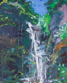 original fine art oil pastel landscape waterfall