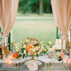 Spearmint green, natural wood, and florals in shades of peach fill this pretty inspiration board! {Image by Peaches & Mint by Pia Clodi}