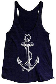 Friendly Oak Women's Anchor Tank Top -S -Navy Blue