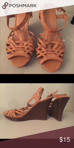 Nude Strappy Wedge GAP brand nude wedge. Looks cute with summer outfits and perfect for a classy, yet casual look! Worn once. Old Navy Shoes Heels