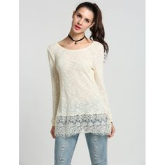Lady Fashion Women Long Sleeve O Neck Lace Patchwork Casual Knitwear Pullover Sweater Top | cndirect.com