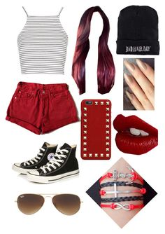 """""""Untitled #2"""" by mfgsoccer ❤ liked on Polyvore featuring Topshop, Converse, Boohoo, Valentino, Ray-Ban, Charlotte Tilbury, women's clothing, women's fashion, women and female"""