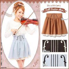 dreamv | Rakuten Global Market: Waist part violin embroidery design♪Frill sweep skirt◆8/22 ships planned