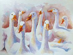Pittura del Watercolour di uno stormo di oche bianche