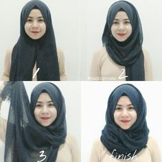 This is a very easy and basic hijab tutorial you can wear everyday for work, school or your casual days, it can be made in only 4 steps and barely 2 minutes 1. Place the scarf on your head with… Tutorial Hijab Segitiga, Pashmina Hijab Tutorial, Turkish Hijab Tutorial, Simple Hijab Tutorial, Hijab Turkish, Gaya Hijab, Muslim Hijab, Hijab Fashionista, Hijab Fashion Inspiration