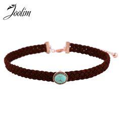 JOOLIM Jewelry Wholesale/2017 Hand Knotted Rope Chain Turquoise Choker Necklace Stone Choker Fashion Jewelry