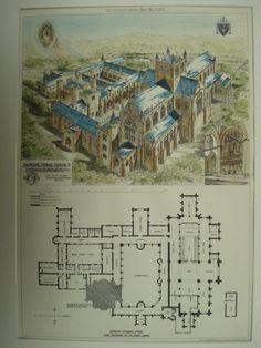 Buckfast Abbey , Devon, UK, 1883, Fredrick A. Walters
