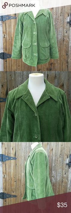 L.L. Bean Green Corduroy Lined Coat Jacket Green Corduroy Long Sleeves Fully Lined 4 Button Closure 2 pockets on front Cotton & Polyester Blend L.L. Bean Jackets & Coats
