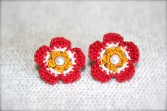Crochet Flower Earrings Red Yellow and White by CatWomanCrafts, $10.00