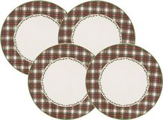 """Nikko Tartan Plaid Dinner Plate, 11-Inch, Set of 4 by Nikko. $73.41. Tartan Design in Red and Green. White Ironstone. Dishwasher and microwave oven safe. Four dinner plates. The new Nikko Tartan dinnerware pieces coordinate perfectly with the traditional Christmas Tree motifs of their """"Happy Holidays"""" and """"Christmastime"""" patterns, but can also be used just with each other as a fresh new holiday setting. Each piece is decorated with a red and green tartan pattern, with a green l..."""