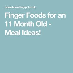 Finger Foods for an 11 Month Old - Meal Ideas!
