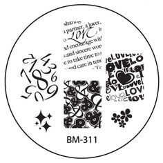 Series 3 Nail Stamping Plate BM311 - Love & Numbers