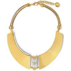 Vince Camuto Louise Et Cie Crystal Center Gold Collar Necklace ($130) ❤ liked on Polyvore featuring jewelry, necklaces, goldt glass, vince camuto jewelry, crystal necklace, crystal jewelry, sport necklace and crystal stone jewelry