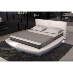 Sferico Modern Eco-Leather Bed w/ LED Lights -
