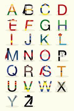 Superhero alphabet...   a. aquaman, b. batman, c. cyclops, d. daredevil, e. elektra, f. flash gordon, g. green lantern h. the hulk, i. iron man, j. justice, k. kick-ass, l. lion-o, m. mandrake the magician, n. nightcrawler, o. orion, p. punisher, q. quicksilver, r. rorschach, s. superman, t. the thing, u. ultra boy, v. vision, w. wolverine, x. xavier, y. yukk! z. zorro
