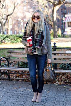 Fur vest over sweater, plaid blanket scarf