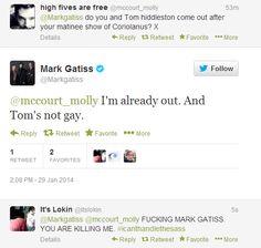 Mark Gatiss, ladies and gentlemen. Tom Hiddleston / Coriolanus
