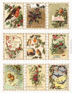 Printable Vintage Christmas Stamps Collage by jodieleedesigns