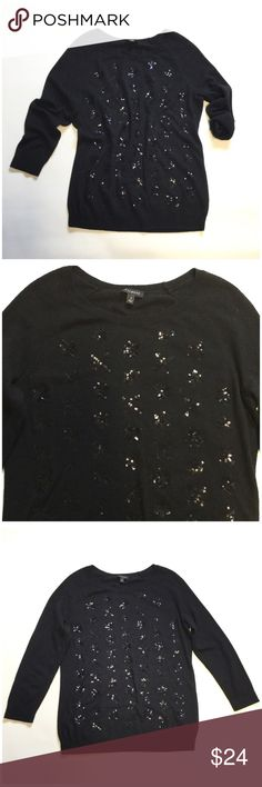"Talbots Sequins Sweater Size small. Black sequins on front. Bust approx 37"" length approx 24"" arm length approx 16"" from armpit. 70% nylon 30% lambswool Talbots Sweaters"
