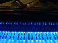 These are custom, crystal piano keys, aka: GloKeys (tm). Each one is laser etched with a different signature from the most famous classical composers. This is one of a kind. The light system is multifunctional and sound responsive. Search GloKeys for more. Tags: glow, led, art, priceless, glass, grand, acoustic, design