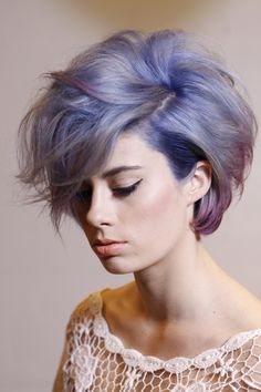 Short styled pastel purple bob with body #shorthair #hair #color #pastelhair #haircut #edgy #bob #punk #trendy #bang #bangs #sidesweptbang