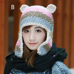 Cartoon bear knit hat with ear for girls winter striped bomber hats
