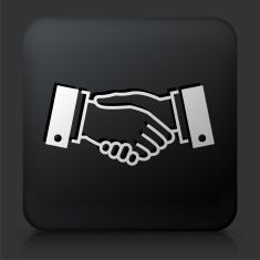 Black Square Button with Handshake Icon vector art illustration
