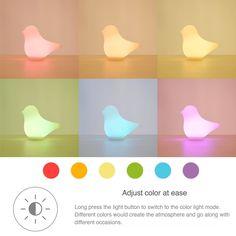 Led Bird Nursery Night Light Adjust Color