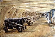 Larboard Battery, Main Deck of the Victory, 16 September 1835 Edward William Cooke.