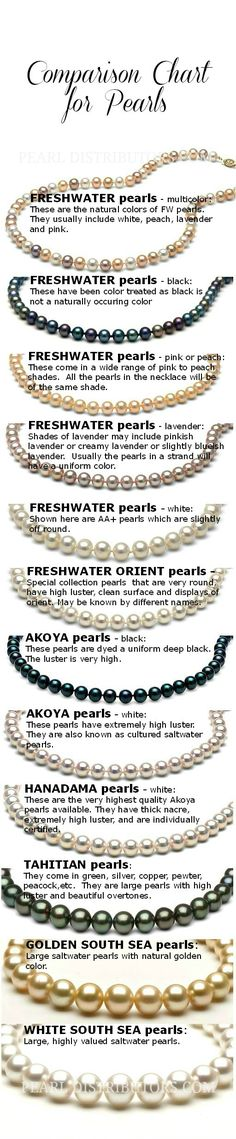 Pearls at a Glance! Compare pearl types with this easy comparison chart. #compare pearls #pearls - I believe every female should own a little black dress, black high heels  and a string of pearls.