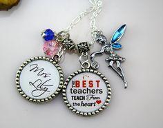 Best Teacher Necklace Teachers Birthday Necklace by monogramgalley