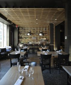 LEMAYMICHAUD | Bistro B | Architecture | Design | Hospitality | Eatery | Restaurant | Dining Room | Custom Light | Lighting | Bar | Wood | Seating |