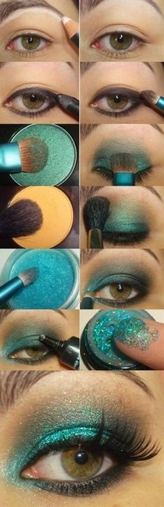 aqua sparkle eye make up tutorial - Click image to find more Hair