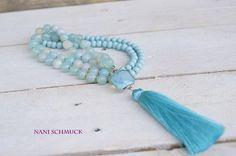 Charm- & Bettelketten - ♥ Lange Kette mit Achat, Holz und Seidenquaste ♥ - ein Designerstück von NaniSchmuck bei DaWanda