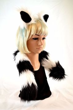 Lemur Ear Tail Clip On Faux Fur Set in Black and White