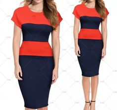 "This is a stunning retro inspired one piece ladies dress. Made of cotton, polyester & spandex. The dress is navy blue and orange, has a rounded neck line, has a back zipper and is available in sizes 4 - 14.    The dress sizes have the following measurements:    Small, US 4 - 6: Bust Range 32.3"" - 34.7"", Waist 26.8"", Hip Width 33.1"", Dress Length 40.2""    Medium, US 8: Bust Range 34.2"" - 36.6"" , Waist 29.5"", Hip Width 35.0"", Dress Length 40.9""    Large, US 10: Bust Range 36.2"" - 38.6"", Waist…"