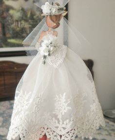 Handmade Scrapbook Prima Brides Gown Lace Dress Paper Doll by Becky #HandmadeShabbyCottage