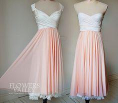 Two Toned  Convertible Wrap Dress / Bridesmaid Dress /   Bridesmaid / Flower / Chiffon / Bride