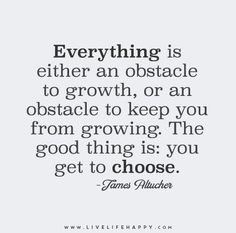 Everything is either an obstacle to growth, or an obstacle to keep you from growing. The good thing is: you get to choose.
